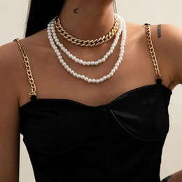 2021 einfache perlenschmucksachen Europäische und amerikanische Persönlichkeit Schmuck Simple Multi-Layer SUZUYA Schmuck Frauen Retro Micro-Set Cuban Button Nachahmung Pearl