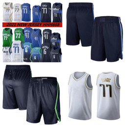 2021 pantalones de malla para hombres New Basketball Jersey Men Luka Kristaps 6 Porzingis 77 Doncic Dirk 41 Nowitzki Mesh Retro Brown Jerseys and Pants