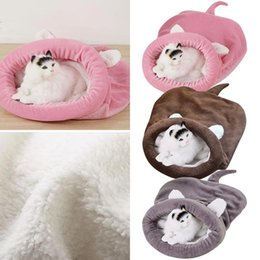 Dormire in pile online-Soft Warm Sleeping Dog Bed Letto Animali domestici Inverno Fleece Cat Sleeping Bag Letto per cucciolo Piccoli cani Animali Cat Mat Kennel House Lk