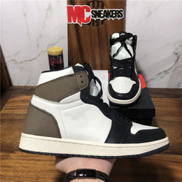 Sequin viola scuro online-Top Quality Dark Mocha Jumpman 1 1s Giovani GIOVANI GIOCHI DOMING PLASTALLACAMETTO SCARPE TRAVIS Scotts Obsidiana UNC Twist Zoom senza paura Bio Hack Sneakers Sport