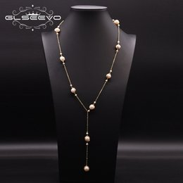 Suéter fresco online-Natural Fresh Glseevo Water Pearl Long for Women Wedding Engagement Handmade Sweater Necklace Jewelry Naszyjnik Gn0172 4BYY