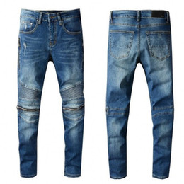 Джинсовые джинсы онлайн-High quality Mens jeans Distressed Motorcycle biker jeans Rock Skinny Slim Ripped hole Knee zipper Denim pants jeans