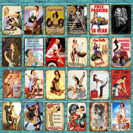 Muestras de la lata atractivas online-2021 Vintage Sexy Lady Pin Up Girl Pinting Tin Signs Metal Plate Art Cartel Pegatina de Pared Bar Coffee House Cafe Home Wall Decor