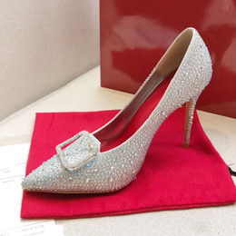 rote diamantpumpen Rabatt Neue Mode Top Red Bottom Womens Stiletto Ferse Fersen 10cm Dekorieren mit Swarovski-Kristallen Diamant Sexy Party Braut Hochzeitsschuhe