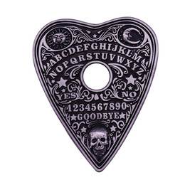 2021 mondbrett Ouija Spirit Board Mystic Oracle Planchette Halloween Seance Schädel Sun Moon Spooky Magical Revers Pin Hexe Pagan Brosche