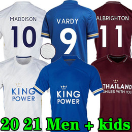 New jersey t shirts en Ligne-New Vardy Soccer Jersey 2020 2021 Maguire Vardy Shirt de football Maddison Tielemans Leicester Camiseta de futbol Hommes + Kit enfants