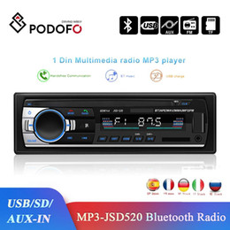 2021 enregistreur récepteur radio Podofo Car Multimedia Player JSD-520 1 Din Stereo Receiver FM Aux Input SD USB 12V In-Dash Bluetooth MP3 Radio Recorder TDA7388 enregistreur récepteur radio pas cher