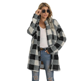 Camicia di lana xl online-Designer Donnes Casual Bangy Bangy Mid Long List Blend Turn Down Neck Plaid Shackets Cappotti BF Check Winter Fleece Shirt Giacche Capispalla