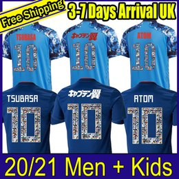 Zahlen kinder karikatur online-2020 Japan Fußball Jersey Männer Kids Kit Cartoon Number Uniformen 20 21 Captain Ozora Tsubasa Okazaki Atom Japan Custom Football Hemd Kits