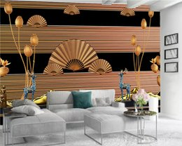 Papel de parede de ouro para o quarto on-line-Clássico 3d Wallpaper Premium e elegante Quarto Fan ouro Wallpaper Home Decor Sala Wallcovering HD 3D Wallpaper