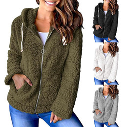 womens zip up hoodie Sconti Giacca da donna in peluche Zip up con cappuccio Giacca a maniche lunghe con cappuccio con cappuccio Chunky Tasche Cappotto Cappotto Catoni da donna con cappuccio