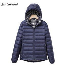 De ultra campana chaqueta de luz hacia abajo online-Schinteon Light Ultra Down Jacket with Removable Hood White Duck Down Coat Bright Autumn Outwear for Women High Quality Y1124