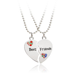 2021 pendentifs demi-coeur 1Pair Half Love Heart Colorful Rhinestone Pendant Best Friends Necklace Friendship Gift For Couple