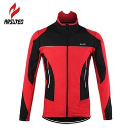 Giacca da ciclismo arsuxeo online-Arsuxeo Bicycle Sports Coat Thermal Fleece Venti Vento Scaldino Bike Sport Cycling Jersey Abbigliamento Giacca L0305