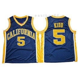 2021 californie t shirts NCAA California Golden Bears College # 5 Jason Kidd Basketball Jersey Vintage bleu marine Bleu cousue Jason Kidd University Jerseys Shirts S-XXXL