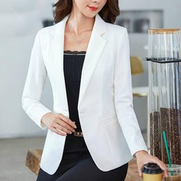 Vestiti rosa delle signore online-Ladies Blazer Long Sleeve Blazer Women Suit Jacket Female Solid Color Elegant Casual Pink Blue White Black For Autumn