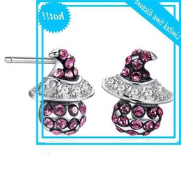 Chapéus prateados para meninas on-line-Cristais de Lekani de Swarovski Magic Witch Hat Brincos para Mulheres Real 925 Sterling Silver Girls Halloween Jewelry presentes