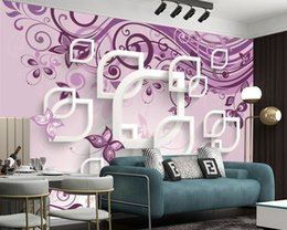 2021 carta da parati viola per la camera da letto Cucina Silk 3D Wallpaper Fiori viola Fiori farfalle Home Decor Murale Stampa digitale Stampa camera da letto Impermeabile pittura a parete carta