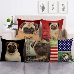 2021 cuscino di pug 45cm * 45 cm Pug Animals Design Cushion Copertura Lenzuola / Cotton Sofà e cuscino del sedile Custodia decorativa cuscino decorativo