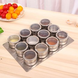 Support de pot à épices en Ligne-Ensemble magnétique pour SPICE JAR Acier inoxydable 12pcs / Set avec support Triangle Forme pour la cuisine à domicile Barbecue en plein air FWA3600