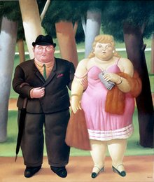 Vernice coppia online-Fernando Botero The Couple Home Decor Handcrafts / HD Stampa Pittura ad olio su tela Immagine a muro Picture 210304