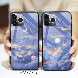 Роспись мобильного телефона онлайн-Подходит для iPhone12 Mobile Phone Shell 11 Liquid XR Glass Xsmax New Tiktok 7P Blue Oil Painting Pro Vibrato6L05