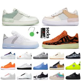 Sapatos de esqueleto mulheres on-line-nike air force 1 AF1 forces off white travis scott n354 shadow Mulheres Mens Running Shoes Skeleton Orange Utility White Black Trainers Sneakers