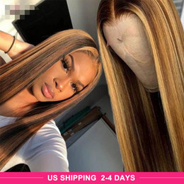 Perücke menschenhaar highlights online-Ishow Highlight P4 27 Straight 13x4x1 lace human hair wigs 1b 30 Omber Straight 360 human hair lace front wigs Pre-Plucked