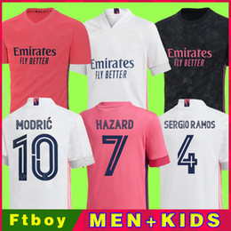 Camisa de futebol 21 on-line-Real Madrid Jerseys 20 21 Camisa de Futebol de Futebol Hazard Sergio Ramos Benzema Asensio Camiseta Men + Kid Kit 2020 2021 Quarto 4º Humano
