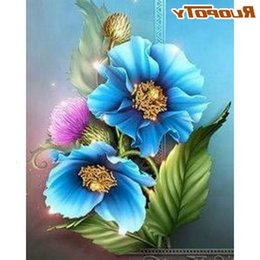Vernici fiori due tele online-Ruopoty 60x75cm Painting Painting by Numbers Due Blue Flower Oil Photo Picture Drawing Canvas per numero dipinto a mano Regali unici