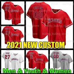 Jérseis de beisebol personalizados da juventude on-line-Homens Jovens Mulheres Los Angeles Personalizado Anjos Jersey 27 Mike Trout 17 Shohei Ohtani Anthony Rendon Jo Adell 10 Justin Upton Baseball Camisas