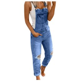 jeans macacao Sconti Tuta per le donne lavato estate playsuits Denim Bib Jeans Trasuppato Casual Denim Denim Denim Denim Pagliaccetti Macacao Feminino # JS5