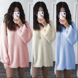 suéter jersey rosa plus Rebajas Mohair Knit suéter mujeres 2021 Coreano perezoso OAF Punto de punto Otoño Invierno Top Blanco Jumper Ladies Pink Plus Size Sweater 5XL