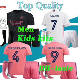 Isco jersey online-2020/21 Real Madrid Soccer Jersey Hazard Uomini e Kids Kit con calze 20 21 Camicia da calcio Real Madrid Asensio Modric ISCO Child Soccer Set