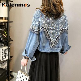 Perla giapponese online-Denim Cappotto Donne in cotone Kalenmos Plus Size Primavera Autunno Perle Coreane Japan Japan Japan Japan Japan Punk Gothic Work Bomber Giacca Giacca a vento