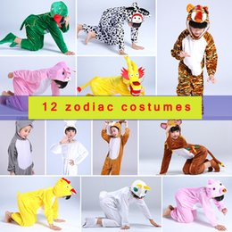 2021 enfants costume de mascotte de halloween Costume Cosplay Cosplay pour enfants Mascotte Chinois Zodiac Vêtements Halloween Show Dragon Rabbit Kindergarten Mascot Costume VDB511