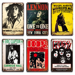 Carteles de chapa de musica online-2021 Kiss Rock N Roll Roll Papa de metal Signo Vintage Lennon Pop Music Cartel Decorativo Metal Placa Signs Pub Bar Man Cave Home Decoración de la pared