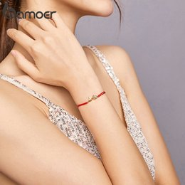 Pulseira vermelha on-line-Bamoer Red Rope Sorte Banhado A Ouro Fish 925 Sterling Silver String Bracelet para Mulheres Fine Jewelry Bijoux BSB044 0215