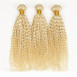 extensions de cheveux bouclés blonds platine Promotion Blonde Kinky Curly Heavy Cheveux Humains Tissu 3 Bundles offres Afro Kinky Curly 613 # Platinum Blonde Extensions de cheveux humains