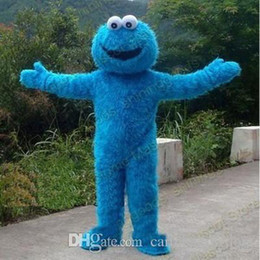 mascota galleta Rebajas 2018 Fábrica Venta directa Sésamo Street Cookie Monster Mascot Disfraz Fancy Party Dress Traje Envío Gratis