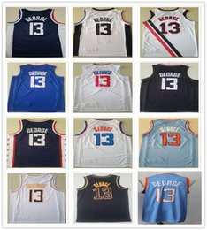 Camicia paul george online-Uomini cuciti Paul 13 George Jerseys 2021 New City Black Black Bianco Blu Navy Color Basket Blay College Shirts Spedizione veloce