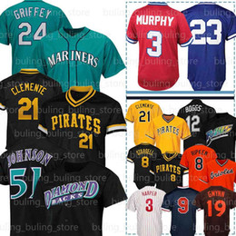 Camisolas 51 on-line-51 Randy Johnson Wade Boggs 21 Roberto Clemente 23 Ryne Sandberg 3 Dale Murphy Harper Ted Williams Ken Griffey Cal Ripken Jr Jerseys Bryce