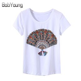 Donne fatti a mano maglietta online-Babyoung New Summer Style Style Donne Top T-Shirt Fashion Handmade Fan Pattern Pattern Sequin Femme Tees Shirt T Shirt Femmina Camisetas F1230