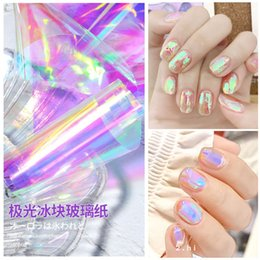 nail art design transparent Promotion Holographic Nail Art Sticker Autocollant Miroir Aurora Nails Décalques en verre Transparent Papier de verre Diy Design Decorations de manucure