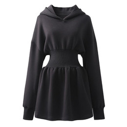 Goth kleider online-2021 Harajuku Black Long Hood Dress Streetwear Frauen Langarm Goth Gothic Punk Retro Vintage Swing Party Kleider für Party