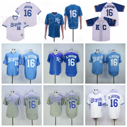 Трикотажные изделия cooperstown онлайн-1980 1985 1987 Retroor Baseball 16 Bo Jackson Vintage Jersey Team Cooperstown FlexBase Cool Base Plassover Blue White Grey Shist