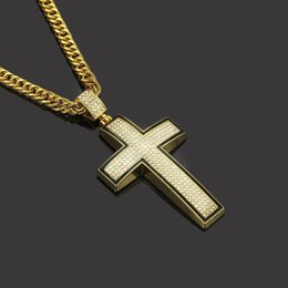 Cadena blanca 24k online-Hiphop Hombres Mujeres Blanco Cubic Zirconia Sparking Bling Solid Cross Collant Iced Out CZ Cuban Link Chain 24k Oro Collar Joyería