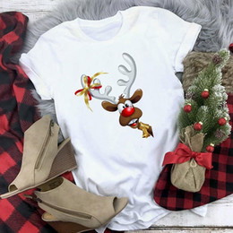 magliette cool christmas Sconti Nuovo arrivare popolare Merry Christmas T Shirt Donne Deer Stampa Camicie Moda Cool Hip Hop Tshirt Streetwear Casual Top estive