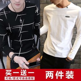 camisas manga longa t júnior Desconto Hoodies manga comprida T-shirt Júnior Estudante Bottom Revestimento Autumn Sweater Coreano Slim Fit Wear