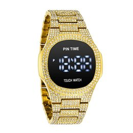 2021 orologi da toeletta dello schermo di tocco Hip Hop Touch Screen Screen Guarda Diamond Iced Out Digital Mens Orologi Top orologio in oro Reloj Hombre Relogio Montre Zegarek